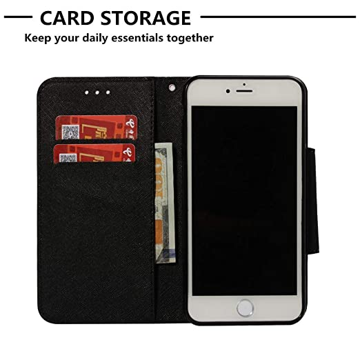 ... Inner Rubber Bumper 3D Printing Magnetic Card Holder Shockproof Anti-Scratch Carrying Case for Apple iPhone 6 Plus/6S Plus -black cat: Garden & Outdoor