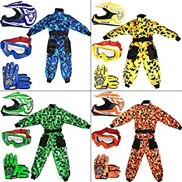 Leopard Kids Children Motorbike Motocross Set { CAMO Suit M (7-8 Yrs) + Helmet & Gloves S (49-50cm) + Goggles } Pink Touch Global Ltd
