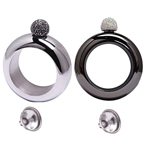 a16c4129f06e3 Humphrey Amelia Set of 2 Stainless Steel Booze Bangle Bracelet Flask with  Rhinestones Top and Funnel for Women Girls Party Jewelry(Black and Hematite)