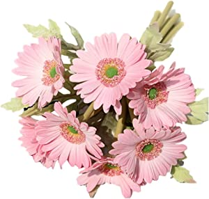 LebriTamFa 7PCS Real Touch PU Artificial Barberton Daisy Gerbera Daisy Flowers Bunch Bouquet Arrangements for Holiday Bridal Bouquet Home Party Decor Bridesmaid (Full Pink)