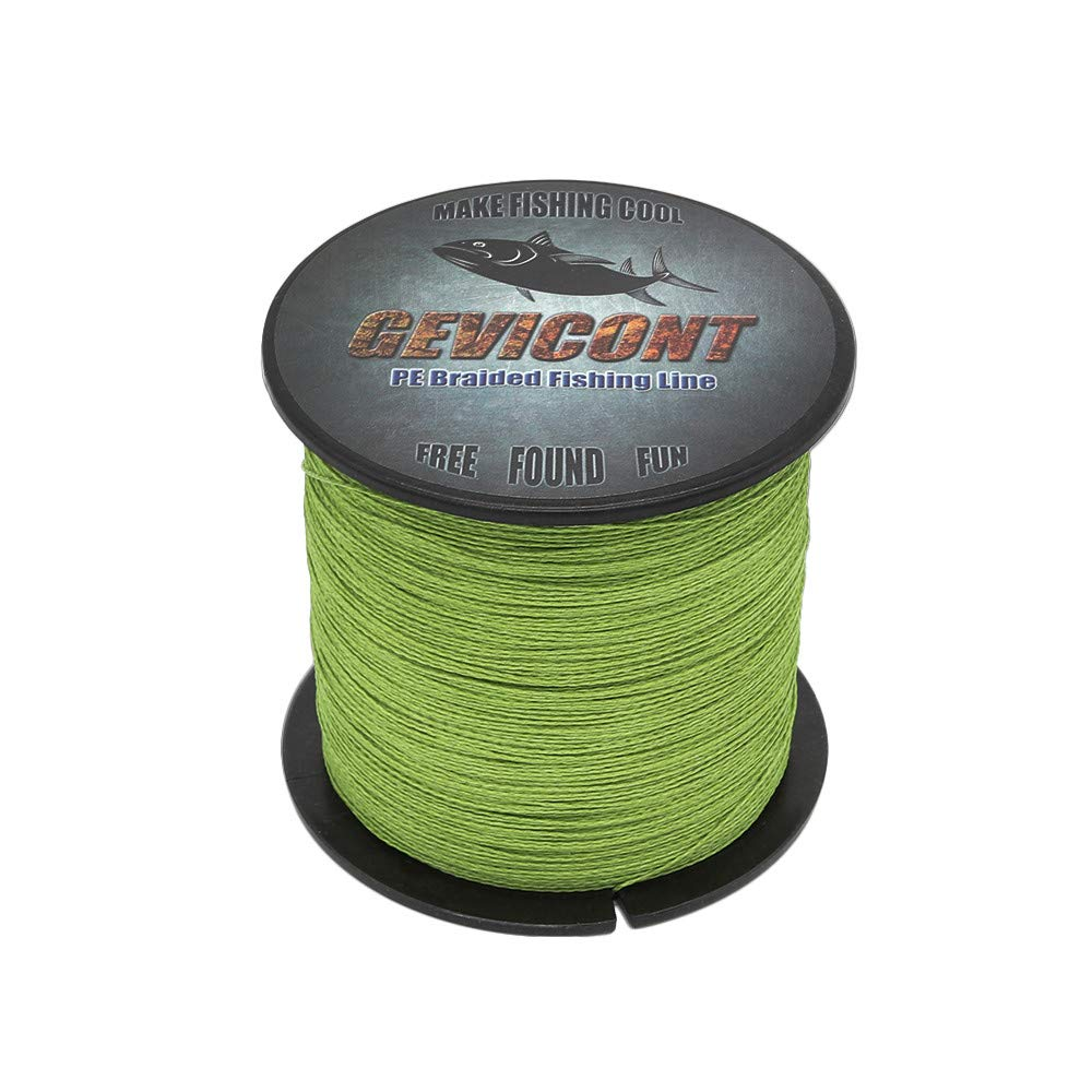 GEVICONT Braided Line High Strength Fishing String 100% PE 4-Strand 100 M/109 Yd 10-100Lb Available in 10 Colors for Salmon Fishing