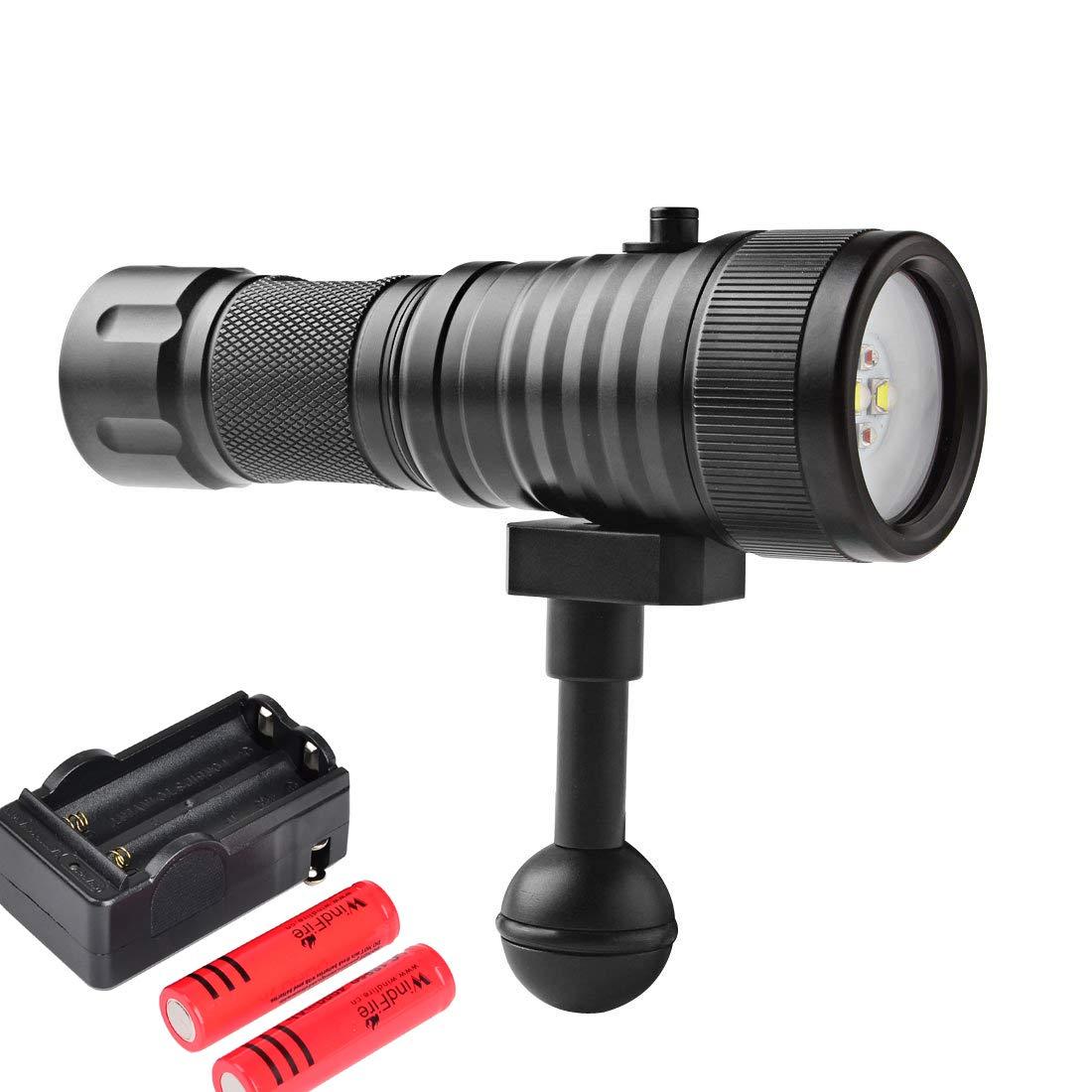 WINDFIRE スキューバダイビングフラッシュライト 水中200M ビデオカメラ 写真ライト トーチ ダイビング懐中電灯 ボールジョイントブラケット付き 18650 充電式バッテリーと充電器   B07PYFKW6Y