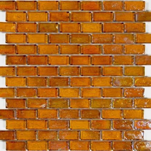 Amber Textured Iridescent Glass Tile Blend 1