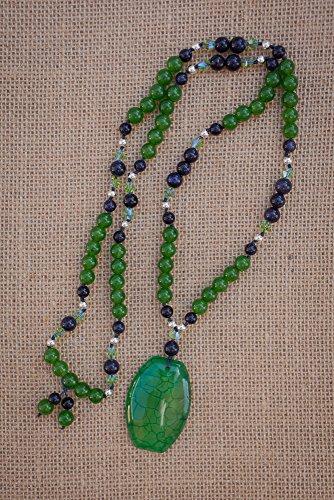 - Long Green Dragon Vein Agate Pendant Necklace with Jade, Blue Sandstone & Swarovski Crystal Beads