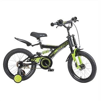 Bicicletas Niños Estudiante Montaña Niño Cochecito 14 Pulgadas 16 Pulgadas Doble Choque Hermoso Regalo (Color : Gray, Size : 14inch(96cm*36cm*75cm)): ...
