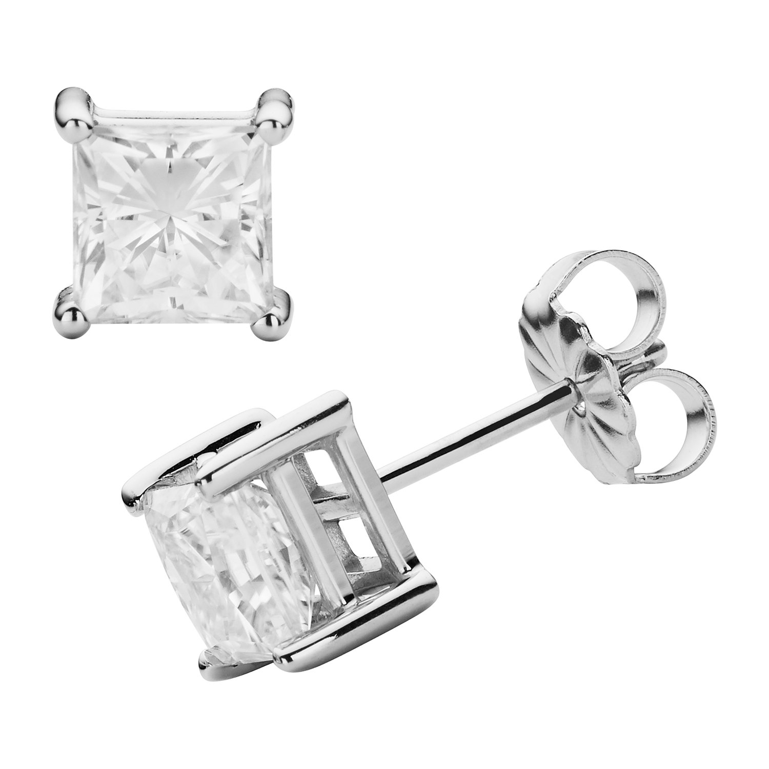 Forever Classic 7.0mm Square Moissanite Stud Earrings, 4.20cttw DEW By Charles & Colvard