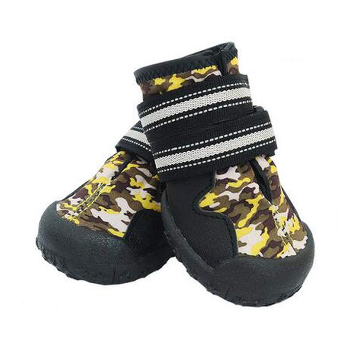 Camouflage yellow 4  Camouflage yellow 4  Dog shoes, Dog Rain Boots, Medium Dogs, Large Dog Waterproof shoes, Dog color Hiking shoes, Pet Supplies, Camouflage Yellow (4 -8 ) (color   Camouflage Yellow, Size   4 )