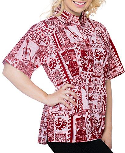Camisa de vestir ropa de playa informal de manga corta del bot�n blusa superior abajo cubren hasta el tanque de se�oras de las mujeres Rojo