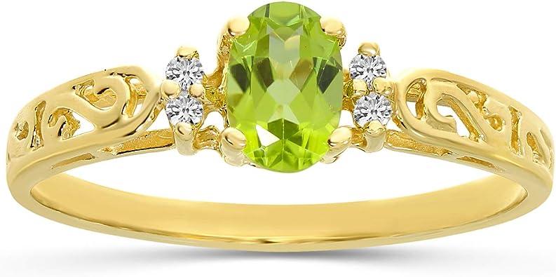 6 10K Yellow Gold Genuine Diamond /& Peridot Birthstone Ring Size
