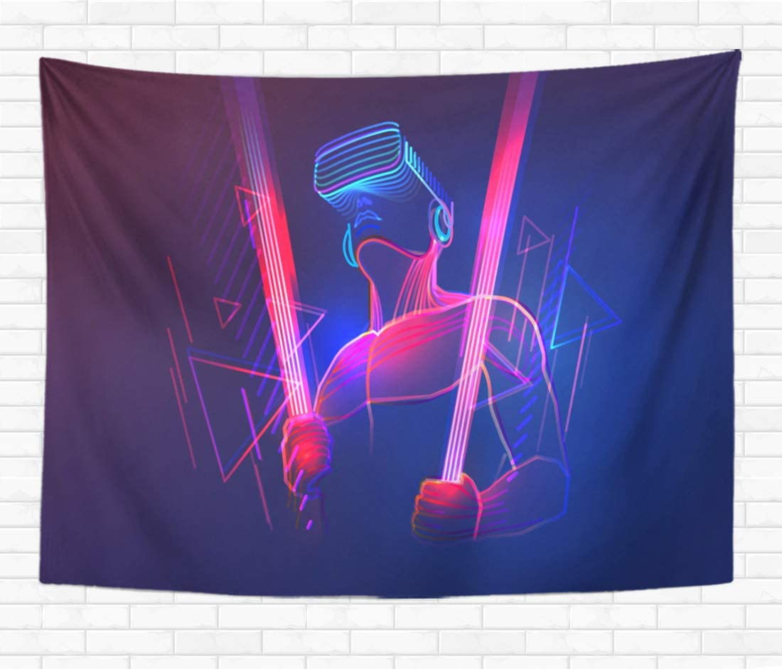 Topyee 60×80 Inch Tapestry Wall Hanging Virtual Reality Gaming Man Wearing Vr Headset and Using Light Sword in Abstract Home Decorative Tapestries Wall Blanket for Dorm Living Room Bedroom