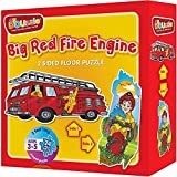 DOUzzle Big Red Fire Engine, Double Sided Jigsaw Floor Puzzles, for Toddlers and Kids Ages 3 4 5 Years Old (24 Extra Large Pieces, 3 feet Long). Side 1: Jumbo Firetruck - Side 2: Firefighter