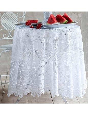 hochwertig,... oval oder rund Große Tischdecke mit Spitze Weiß oder Beige