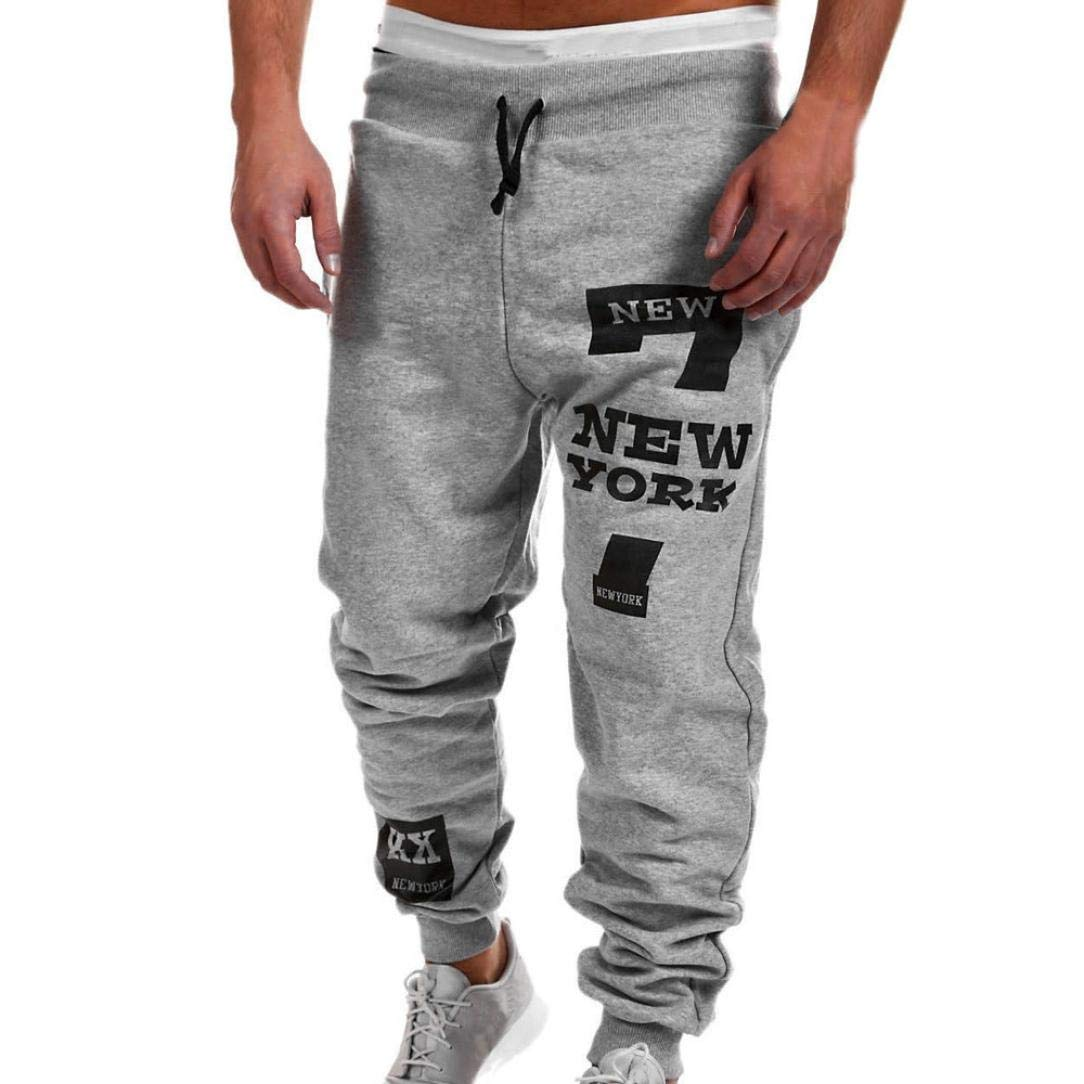 vermers Best Seller! Mens Leisure Pants - Mens Fashion Trousers Casual Letter Printed Sweatpants(M, Gray)