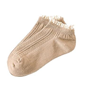 aa1d6245b84 Westeng Chaussettes Femme Chaussettes en Coton Chaussettes avec Décoration  de Dentelle 1 Paire