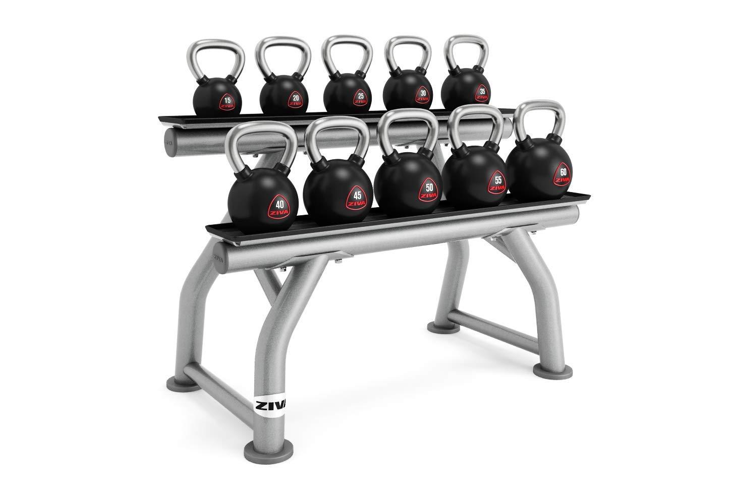 ZIVA SL Kettlebell Rack for Gym, Home Storage – 3'' Round 11-Gauge Steel Frame, Rubber Saddles – Holds 10 Kettlebells (Sold Separately), Platinum, One Size