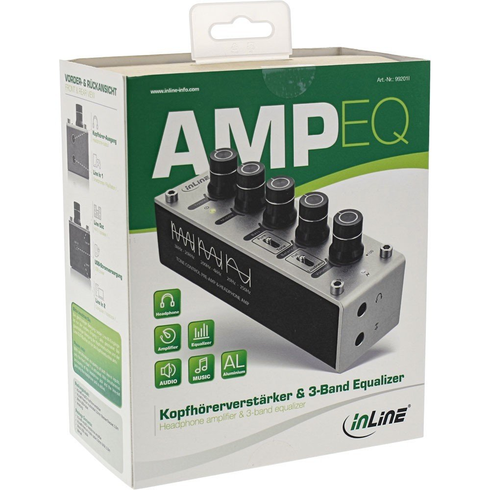 InLine® AMPEQ Headphone Amplifier and EQ 3 5 mm Jack, USB Powered