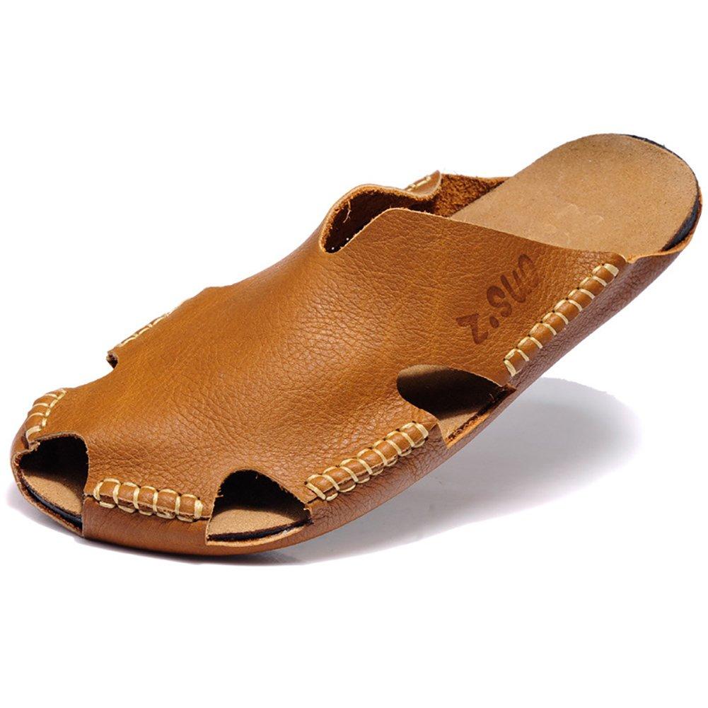 ZJM- Safe Man Slipper Closed Toe Safe ZJM- Entwickelt Atmen Frei Reise Strand Schuhe Weiche Echtes Leder Rutschfeste Fischer Schuhe (Farbe : Weiß, größe : 40) Braun ac1230