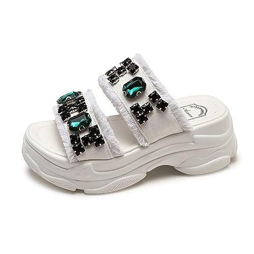 Zapatillas de Suela Gruesa Zapatos de Plataforma de Diamantes de imitación de la Cara del Dril de algodón de Moda Femenina Verano con Sandalias: Amazon.es: ...