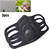 Volwco Dust Mask For Women Men, 3pcs Washable Reusable Dustproof Respirator Half Face Mask Breathable Mouth Mask, Anti Pollution Dust Mask With Valve For Running, Cycling, Outdoor Activities