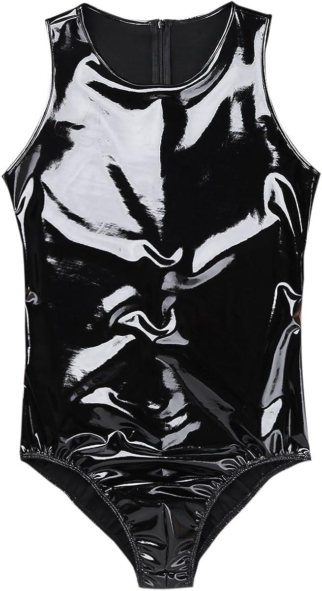 iiniim Mens Sleeveless Patent Leather Wetlook One-Piece Leotard Bodysuit Back with Zipper