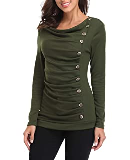 2a21367f0139c MISS MOLY Women s Cowl Neck Tunic Button Decor Ruched Front Long Sleeves  Work Tops T-