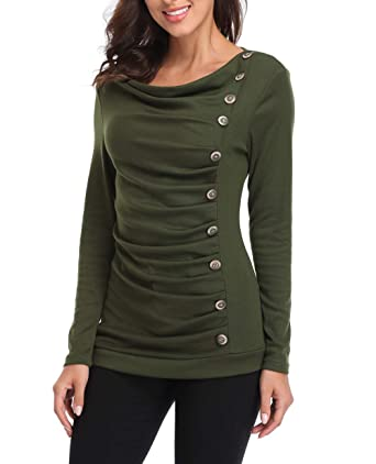 75125d4c41fa03 MISS MOLY Women s Cowl Neck Tunic Button Decor Ruched Front Long Sleeves  Work Tops T-