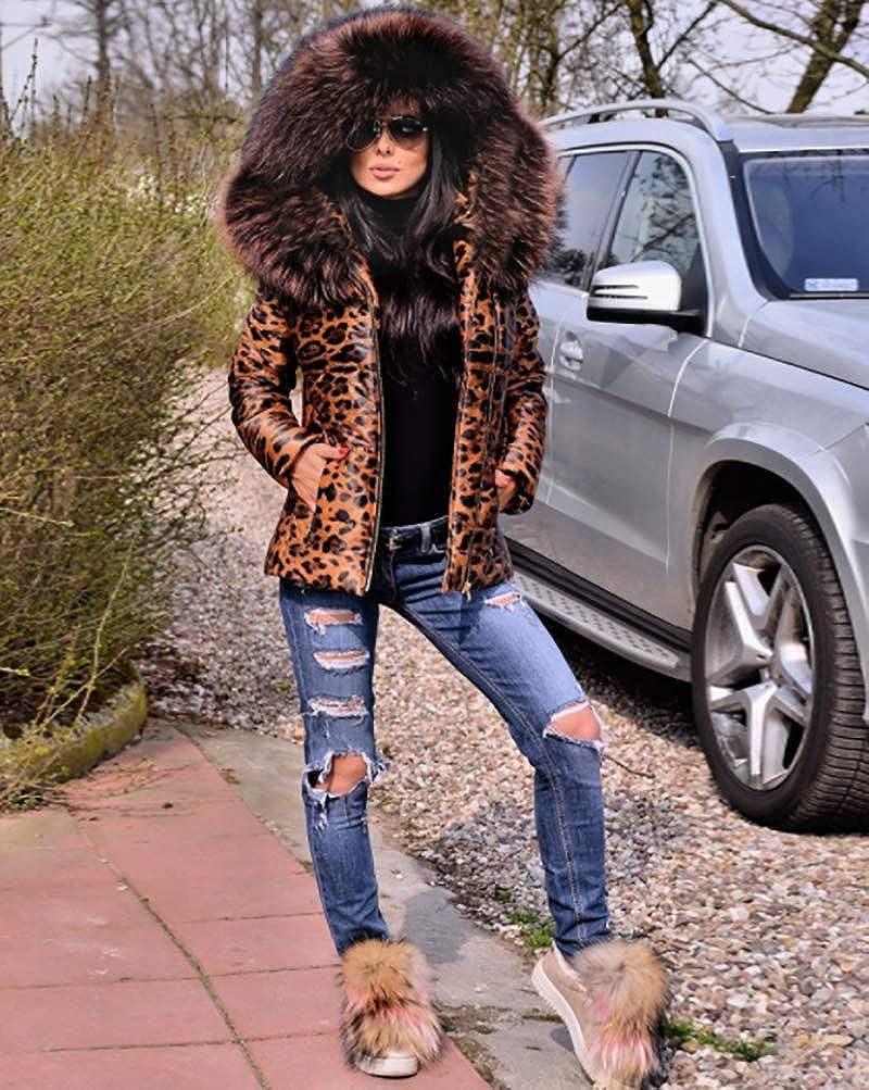 Aox Womens Fashion Leopard Printed Brown Faux Fur Hoodie Slim Zip Up Quilted Down Coat Warm Ski Jacket Winter Top Outwear Aox D18
