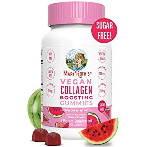 Vegan Collagen Boosting Gummies for Hair Skin & Nail Health by MaryRuth - Plant Based Collagen Supplement w/Lysine Vitamin A, C, Alma Fruit Complex- Animal Peptide & Sugar Free - Watermelon 90 Count