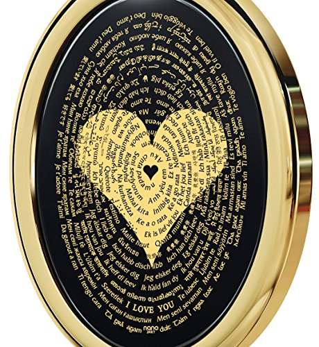 Gold Plated Love Necklace Pendant 24k Gold Inscribed I Love You in 120 Languages Onyx, 18'' Gold Filled by Nano Jewelry (Image #2)