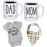 """Pregnancy Gift Est 2021 - New Mommy and Daddy Est 2021 11 oz Mug Heart Set with""""Let Adventure Begin"""" Romper (0-3 Months) - To"""