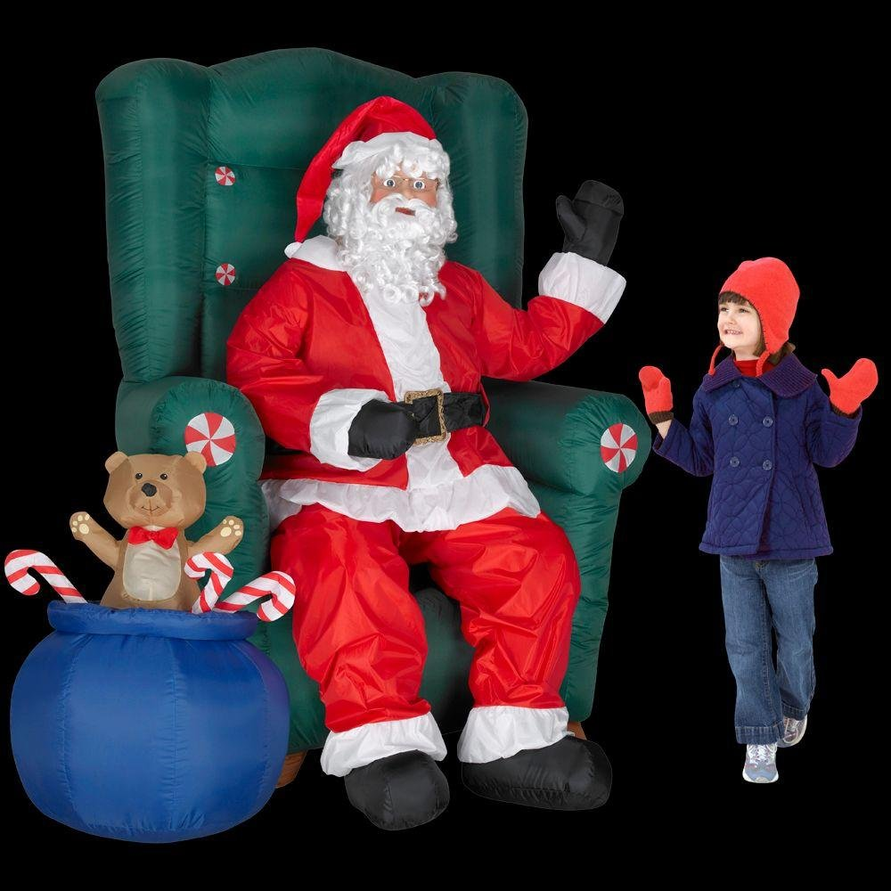 Amazon.com: 5 ft. Inflatable Realistic Animated Christmas Santa in ...