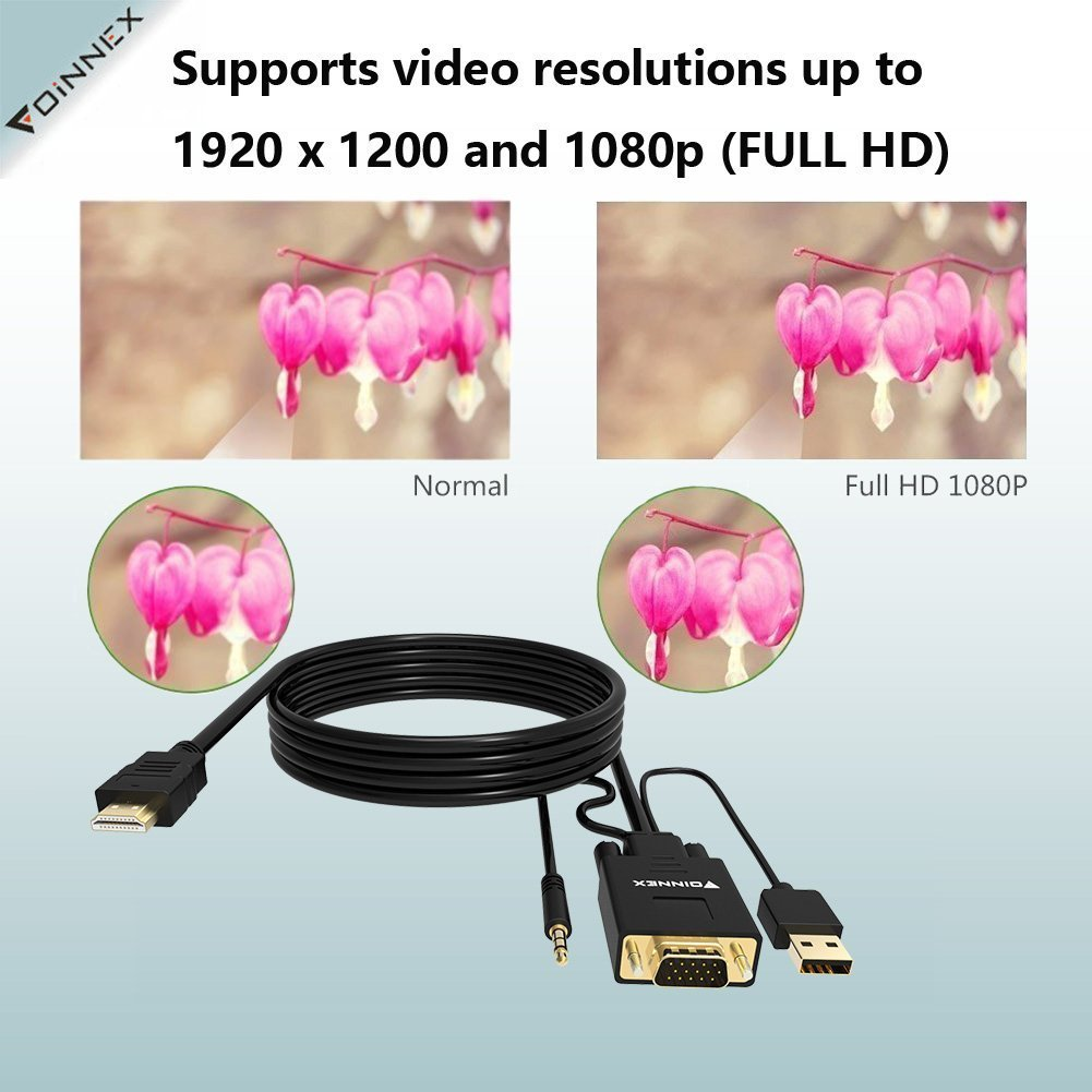 Vga To Hdmi Cable 18m 6 Feet Old Pc New Tv Monitor With Full Hd 1080p Male And Audio Adapter For Hdtv