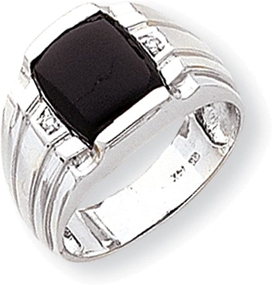 Jewelry Adviser Rings 14k White Gold Mens Diamond and Onyx Ring Mounting