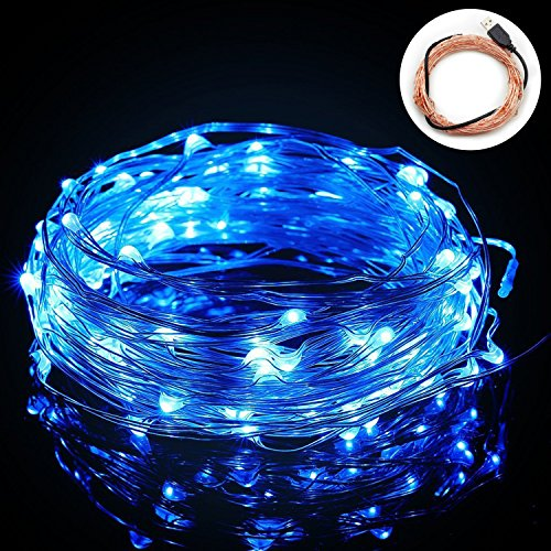 BIENNA String Lights, 100 LED 33ft /10M USB Powered Copper Wire Starry Fairy Weatherproof Lighting for Outdoor Bedroom Indoor Patio Home House Cafe Christmas Xmas Tree Holiday Wedding Party-Blue by BIENNA