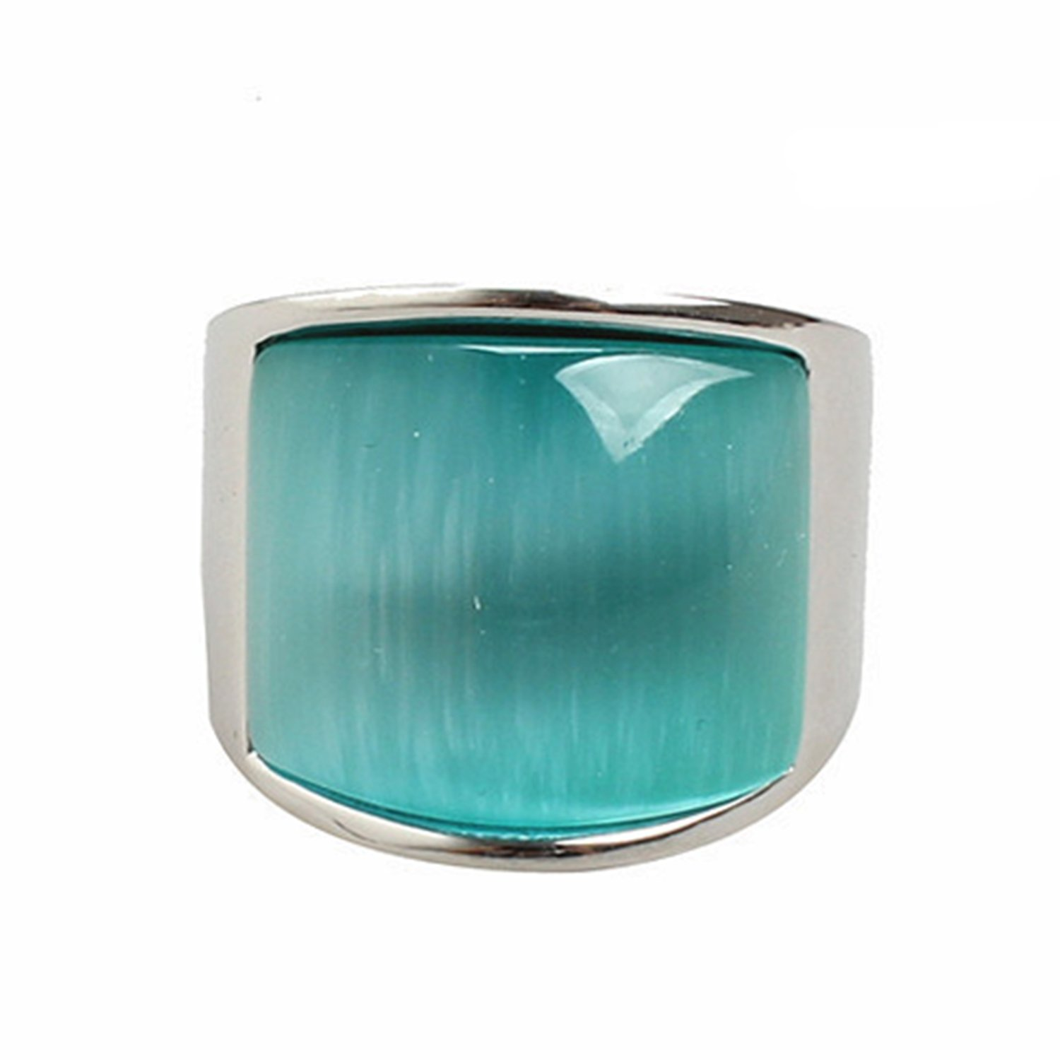 LILILEO Jewelry Stainless Steel Retro Big Light Blue Cat's Eye Stone Ring For Unisex Rings by LILILEO