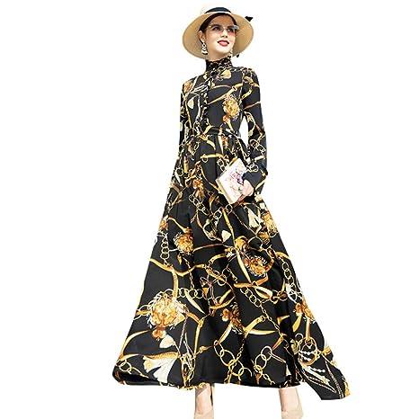 super popular 36ece 4e205 QAQBDBCKL Bottoni Stand Vintage Long Dress Donna Fiori ...