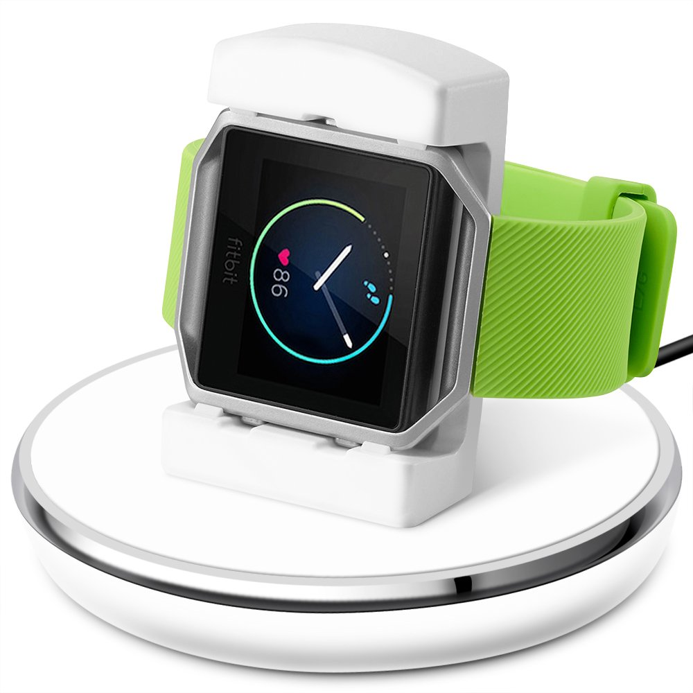 Compatible Fitbit Blaze Charger,Epuly Compatible Fitbit Blaze Charger Replacement Accessories Charging Stand Station TPU Protective Hook 3 Feet USB Cable Compatible Fitbit Blaze Smart Watch White