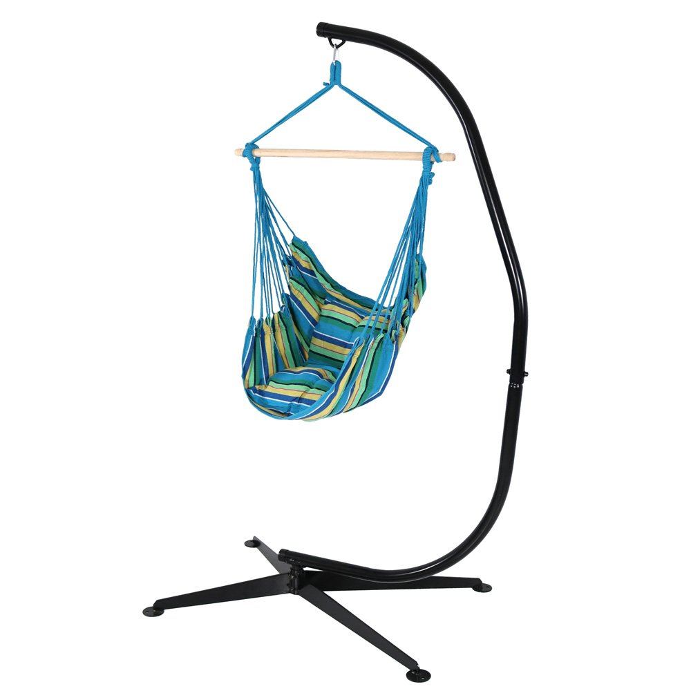 Sunnydaze Hanging Hammock Chair Swing and C-Stand Set, Ocean Breeze, for Indoor or Outdoor Use, Max Weight: 265 pounds, Includes 2 Seat Cushions