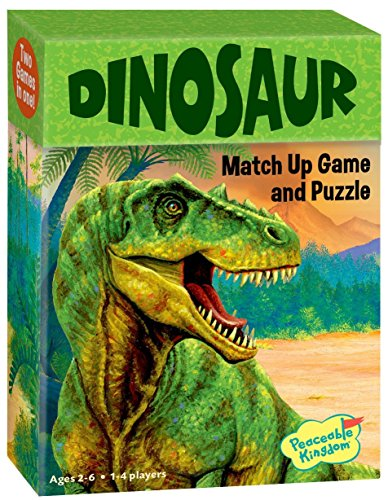Peaceable Kingdom Dinosaur 24 Card Color Match Up Memory Game and Floor Puzzle for Kids