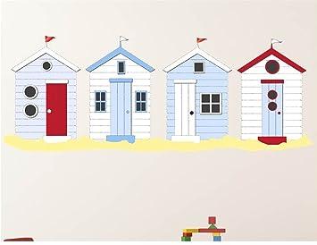 Diseño de cabañas de playa de la pared del vinilo adhesivo mural. Desmontable. Anti-fade, vinilo, multicolor, W240cms x H85cms: Amazon.es: Hogar