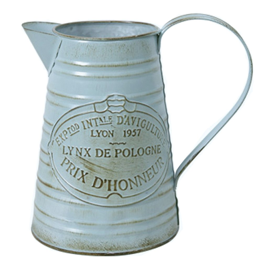HyFanStr Shabby Chic Rustic Style Metal Jug Pitcher Flower Vase Can