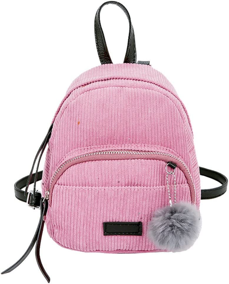 Sunbona Schoolbag Girl Hairball Corduroy School Bag Student Backpack Satchel Travel Shoulder BagShoulder School Bag
