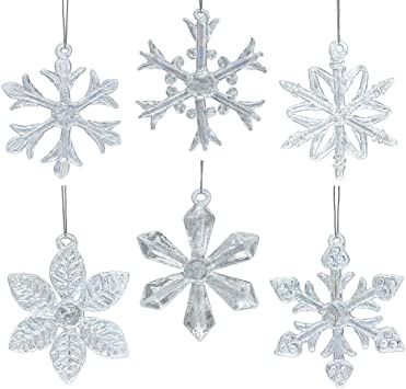 Set 4 Clear Plastic Snowflake Christmas Tree Hanging Decorations
