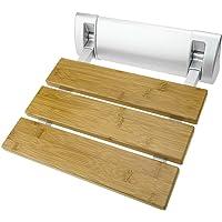 PrimeMatik - Duschklappsitz. Faltender Duschsitz. Duschstuhl aus Bambus Holz und Aluminium 320x328mm