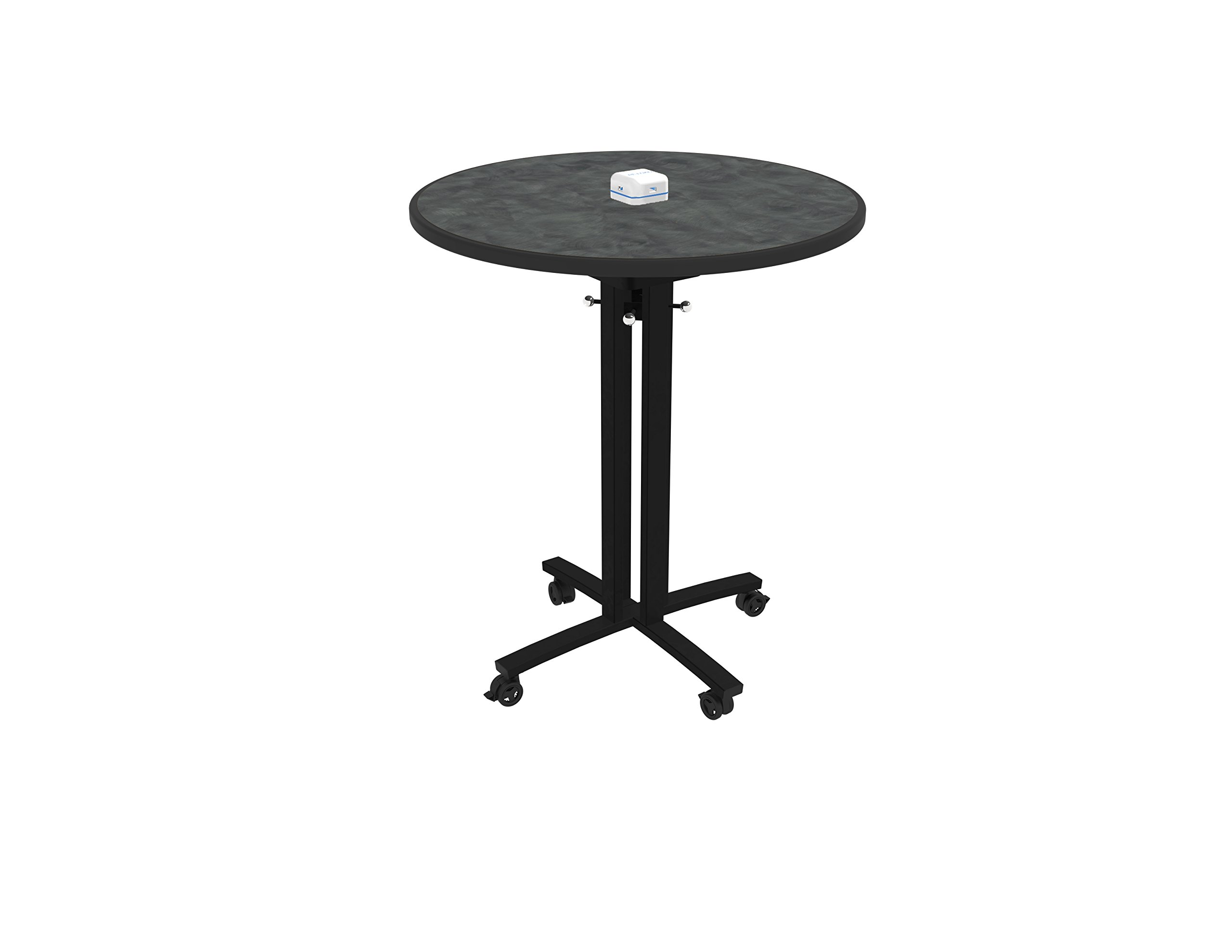 Nomad by Palmer Hamilton RELOAD Mobile Table with Usb Hub for Charging Mobile Devices, Pewter Round Top W/ Black Leg, 36'' Dia. 42'' High, Pub Height, Café, Cafateria, Library, Breakroom, School by Nomad (Image #1)