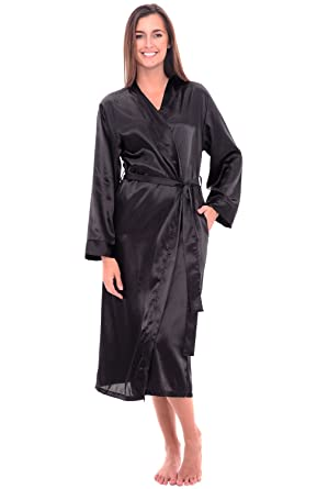 64f265876c524 Alexander Del Rossa Womens Solid Colored Satin Robe