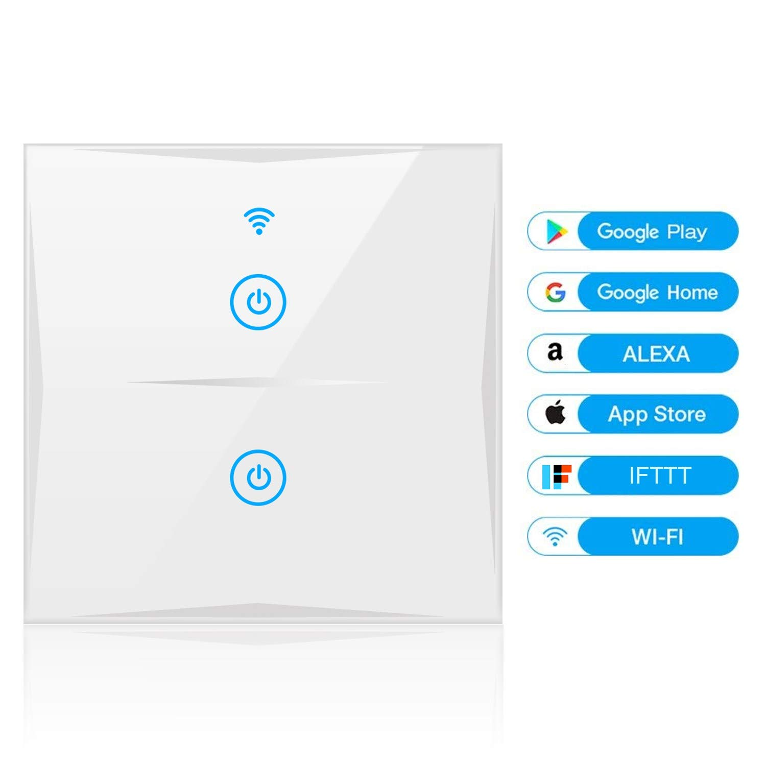 WiFi Smart Light Switch, YAPMOR in-Wall Switch Compatible with Alexa and Google Home, Tempered Glass Touch Screen, Control Your Fixtures from Anywhere, No Hub Needed (2-Gang)