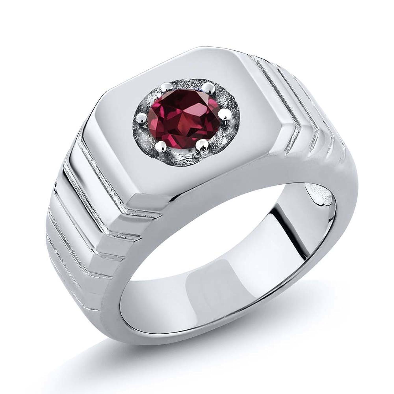 0.60 Ct Round Red VS Rhodolite Garnet 925 Sterling Silver Men's Solitaire Ring