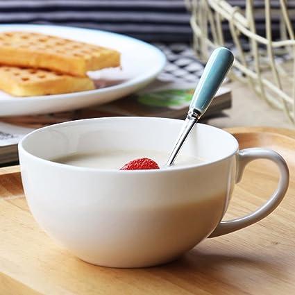 Pequeño fresco leche con tapa de taza cuenco de avena taza de cereal taza de desayuno