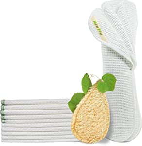 Reusable Unpaper Towels, Natural Loofah Sponges Pack 11, Highly Absorbent, Bamboo Paper Towel Washable Paperless Recycled Organic Cotton Napkins Bathroom Roll Cleaning Cloths Eco Friendly Zero Waste